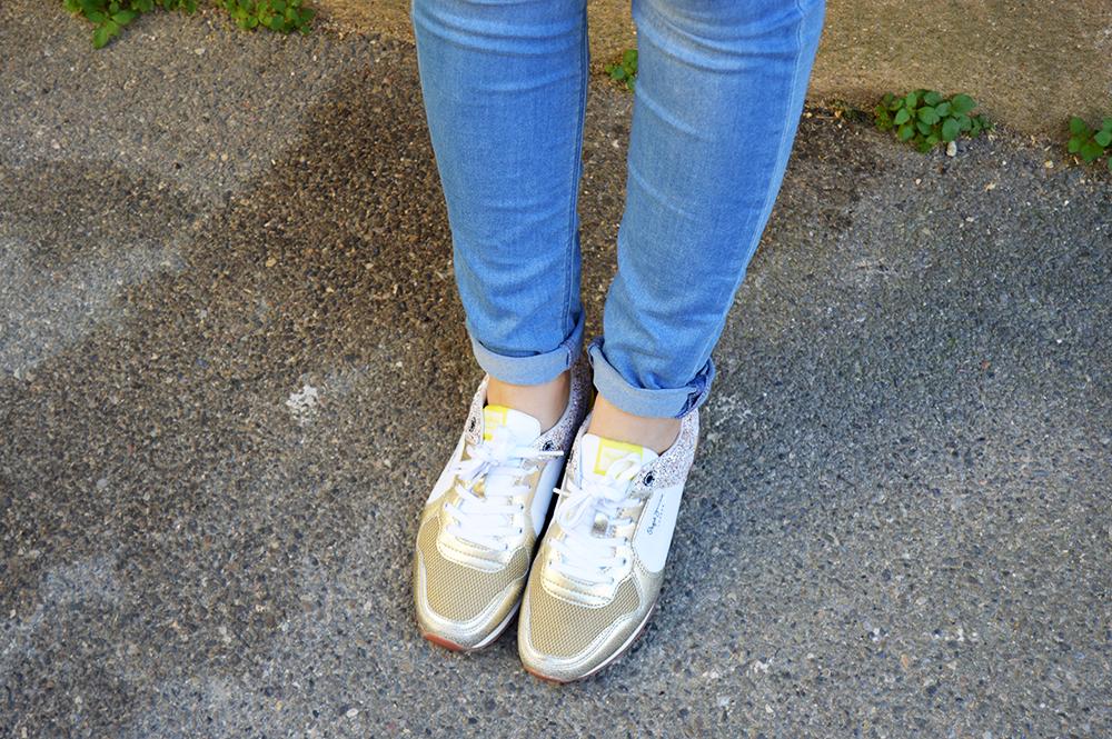 pepe jeans paillettes et or